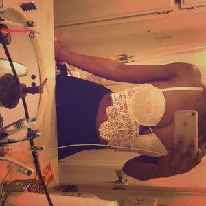 Lace off white bra top